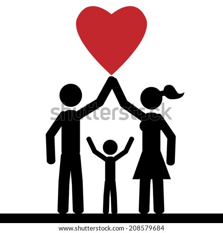 Lovely family, they hold a red heart. It is a stick figure vector. EPS 10  - stock vector