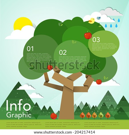 lovely flat design infographic with tree element - stock vector
