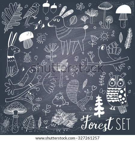 Lovely forest set with sweet wild animals : rabbit, deer, hedgehog, squirrel, owl and birds. Stylish natural background with birds and animals in trees, mushrooms, leafs and insects in gray and white