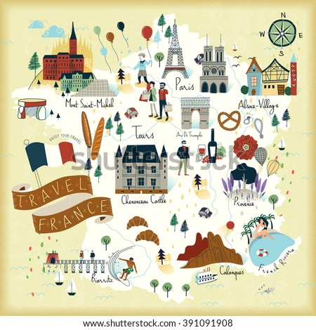 lovely France travel map with famous attractions and specialties - stock vector