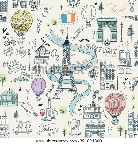 lovely France travel poster with famous attractions and specialties - stock vector