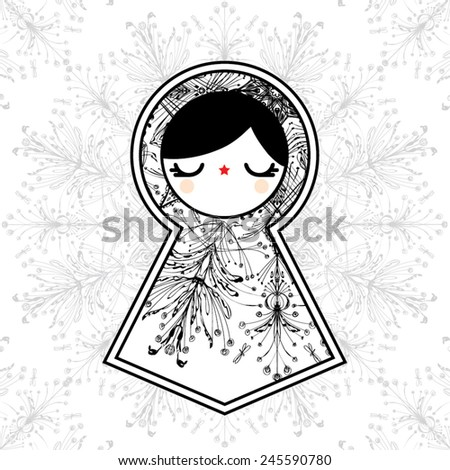 Lovely Geometric Matryoshka Babushka Dolls - stock vector