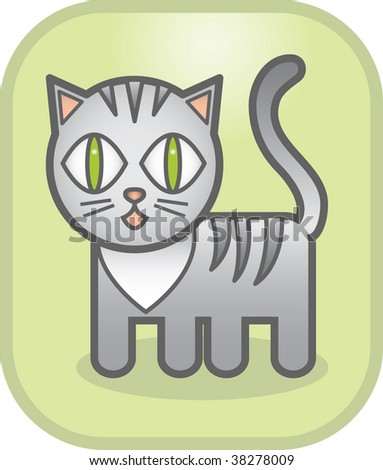 lovely grey cat on a green background