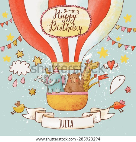 Lovely happy birthday card in bright summer colors. Sweet animals: elephant, bear and giraffe in air balloon in the sky. Awesome personalized childish background in vector - stock vector