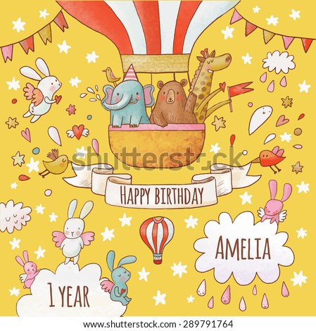 Lovely happy birthday card in bright summer colors. Sweet animals: elephant, bear and giraffe in air balloon around flying rabbits in the sky. Awesome personalized childish background in vector - stock vector