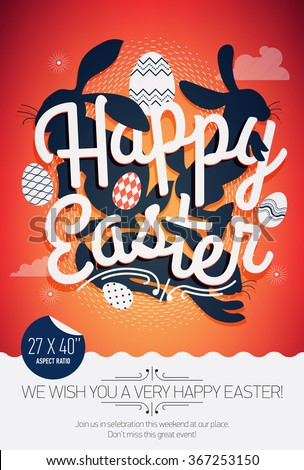 Lovely Happy Easter vector concept layout for banner or poster with sample text | Print template on Easter with creative lettering, bunny rabbit silhouettes and decorative ornamental eggs - stock vector