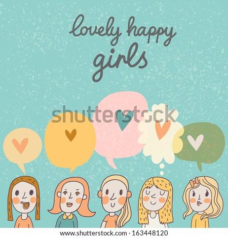 Lovely happy girls � cute cartoon vector girls. Bright romantic card  - stock vector