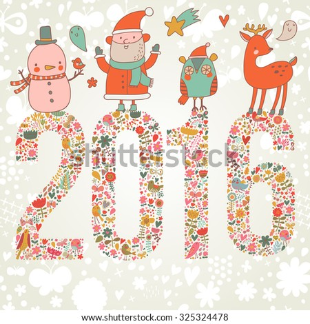Lovely Happy New Year and Merry Christmas card in vector. Bright funny cartoon card with Santa Claus, Deer, Penguin and snowman. 2016 holiday background - stock vector