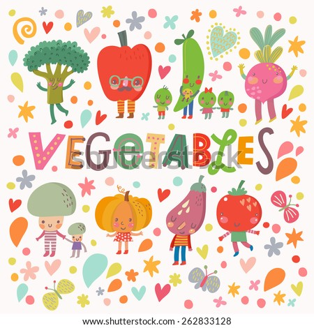 Lovely healthy food concept card with fresh vegetables in vector. Tasty mushrooms, bell pepper, pumpkin, eggplant,  broccoli, beet, pear, tomato and carrot in funny cartoon style - stock vector
