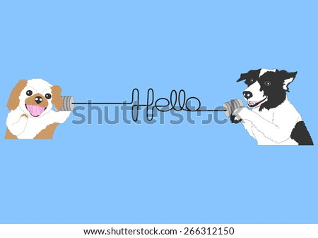 lovely hello dogs, greeting friends call telephone - stock vector