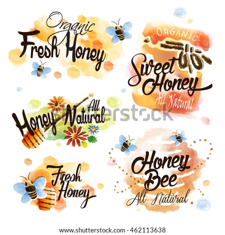 Lovely honey label set with honeycomb and bees in watercolor style