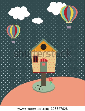 Lovely House with balloon in the sky.