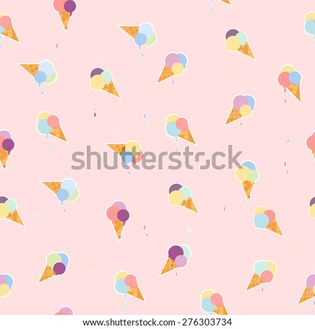 Lovely ice cream cones seamless background pattern. Vector illustration - stock vector