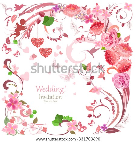 lovely invitation card with flowers and hearts for your design - stock vector
