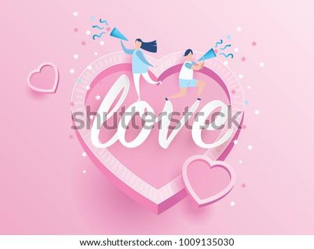 Lovely Joyful Couple Valentines Day Celebration Stock Vector ...