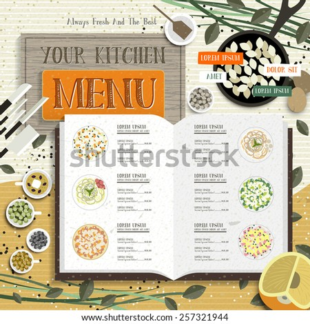 lovely kitchen menu with recipe and colorful spices - stock vector