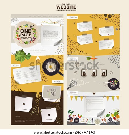 lovely kitchen scene one page website design template in flat  - stock vector