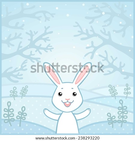 Lovely little rabbit on a winter glade. Vector illustration.