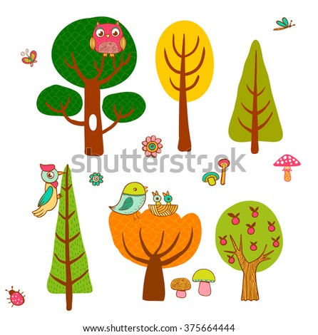 Lovely magic trees and birds in cartoon style. - stock vector