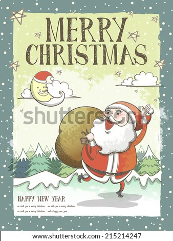 lovely Merry Christmas greeting card or poster  with Santa Claus