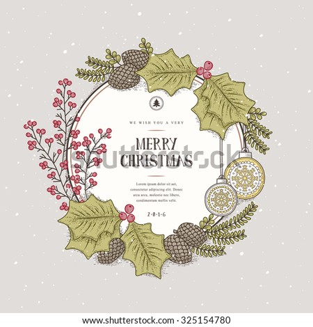 lovely Merry Christmas wreath card design in hand drawn style - stock vector