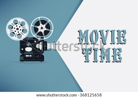 Lovely movie time concept layout with film projector and text area with sample title in retro western font. Cool cinema poster, leaflet or banner template with detailed retro projector with film reels - stock vector