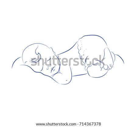 Sleeping Baby Silhouette Stylized
