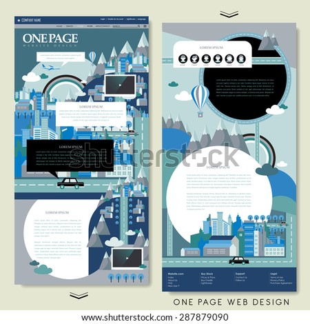 lovely one page website design template in flat design - stock vector