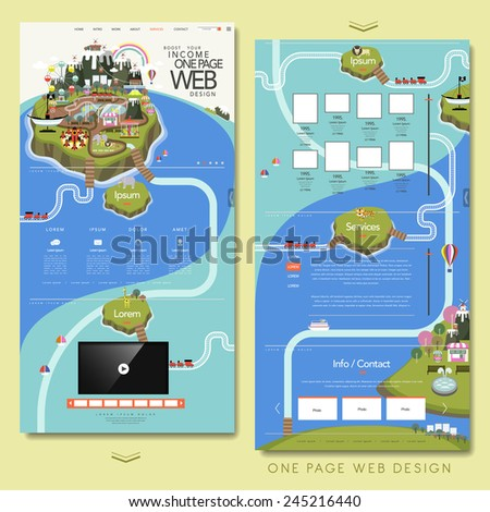 lovely one page website design template with island elements - stock vector