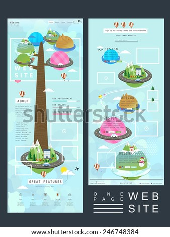 lovely one page website template design with planet elements - stock vector