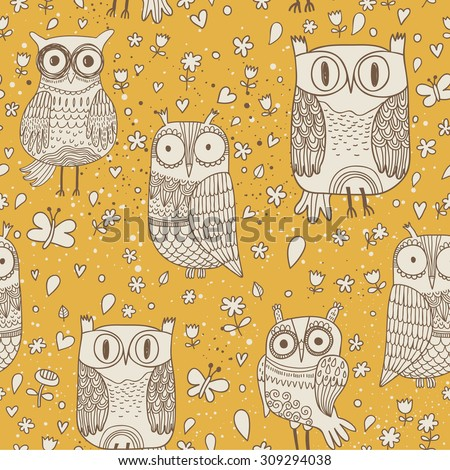Lovely owls with butterflies in vector. Stylish vintage background in yellow and white colors. Seamless pattern can be used for wallpapers, pattern fills, web page backgrounds, surface textures