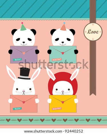 Lovely Panda and Rabbit Holding Love Envelope. Valentine Notepad Design. - stock vector