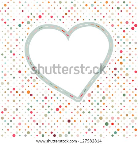 Lovely pink blue polka dots heart frame. EPS 8 vector file included - stock vector