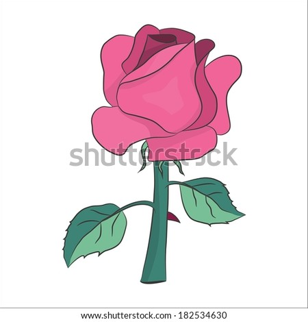 lovely pink rose with two leaves and thorn - stock vector