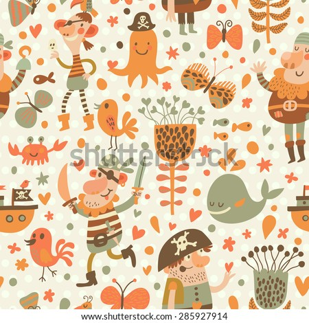 Lovely pirates in cartoon seamless pattern. Sweet background with pirates, flowers, ship, whale, crab and octopus. Awesome seamless pattern in vector - stock vector