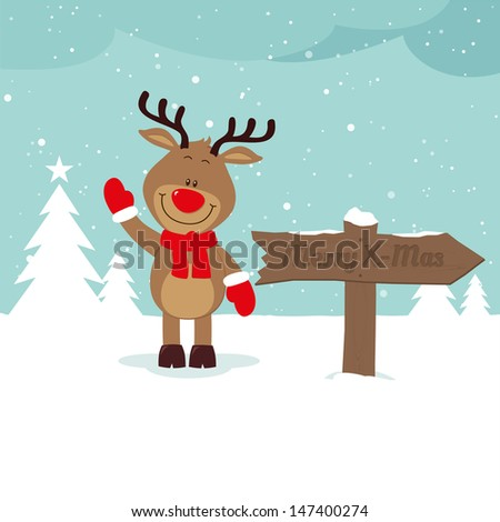 Lovely reindeer in snow with signboard - stock vector