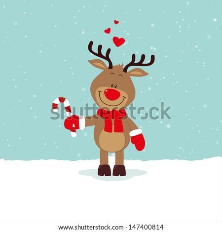 Lovely reindeer with candy and hearts