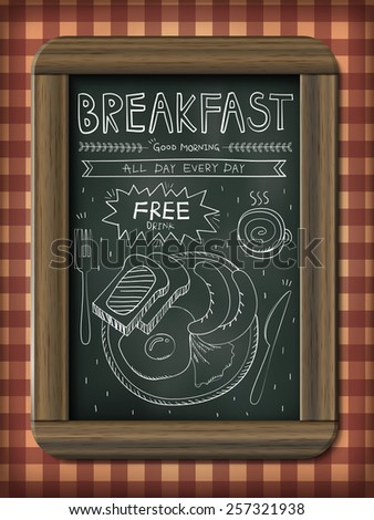 lovely restaurant menu design with blackboard and hand drawn elements - stock vector