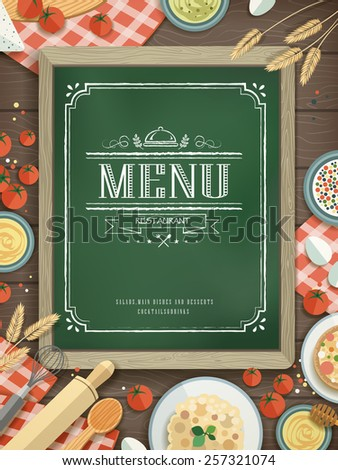 lovely restaurant menu with chalkboard and various food ingredients - stock vector