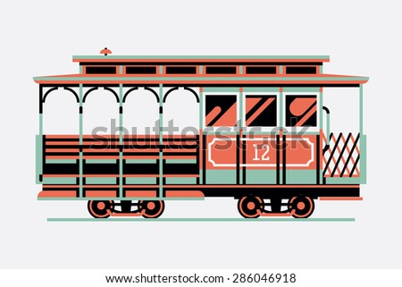 Lovely retro three colored cable car, side view, isolated | Mass transit vintage graphic element on cable rail car. Ideal for urban lifestyle, touristic and sightseeing graphic and web design - stock vector