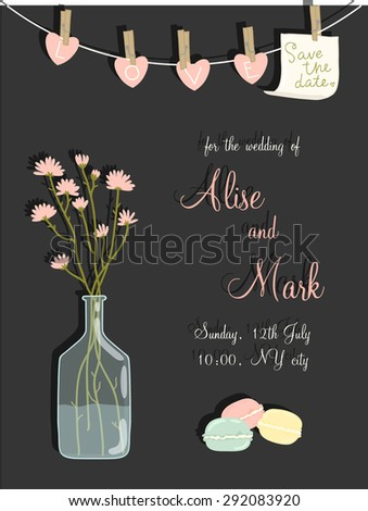 Lovely save the date card in vector. Sweet and cute background with beautiful flowers in popular, pastel colors - stock vector