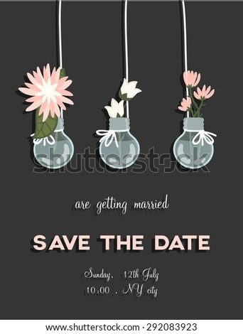 Lovely save the date card in vector. Sweet and cute background with beautiful flowers in popular, pastel colors