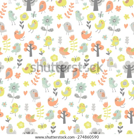 Lovely seamless pattern with cute birds and trees. Summer vector background in modern pastel colors. Seamless pattern can be used for wallpapers, pattern fills, web page backgrounds, surface textures. - stock vector