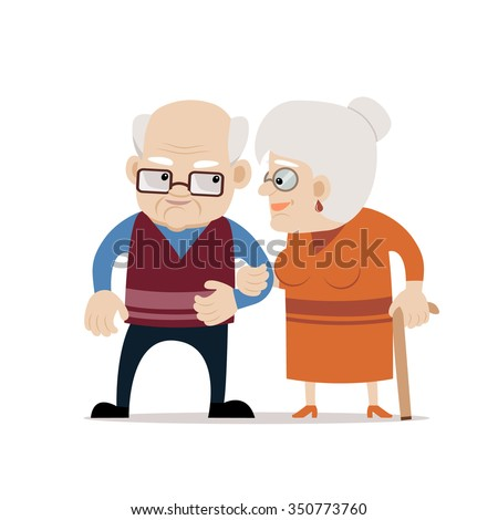 Lovely senior couple smiling each other. Bald old man and old woman with cane. Fully editable vector illustration on white isolated background. Flat design, cartoon style.  - stock vector