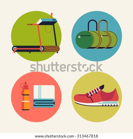 Lovely set of vector flat design elements or round icons on treadmill running workout in gym featuring running shoe, water bottle and towel, tread mill and fitness sport bag - stock vector