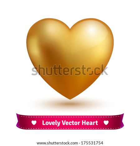 Lovely Shiny Gold Vector Valentine Heart. Editable. - stock vector