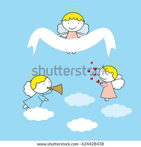 Blue Baby Angels Background For Kids