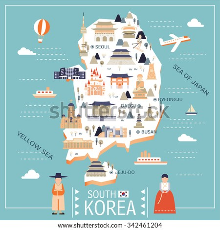 lovely South Korea travel map in flat style  - stock vector