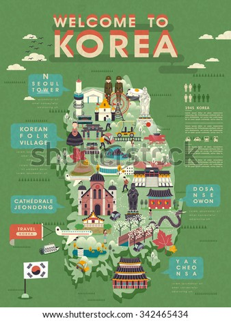 lovely South Korea travel map with abundant attractions  - stock vector