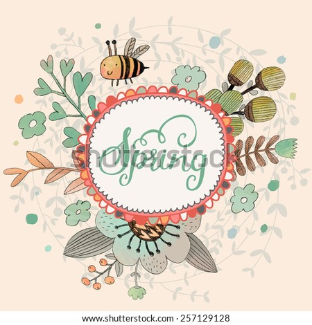 Lovely spring concept card. Awesome flowers and bee made in watercolor technique. Bright romantic card with summer flowers in vector. Charming Save the Date background - stock vector